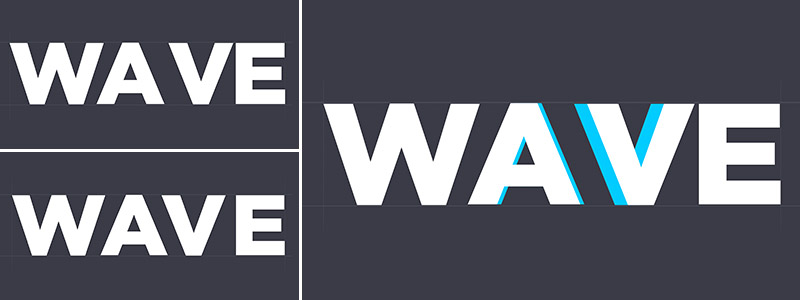 wave text with different spacing