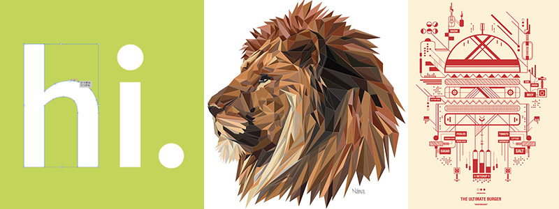 """Vector images: text reading """"hi"""", lion, and burger"""
