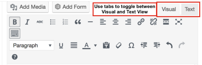 visual and text views in wordpress