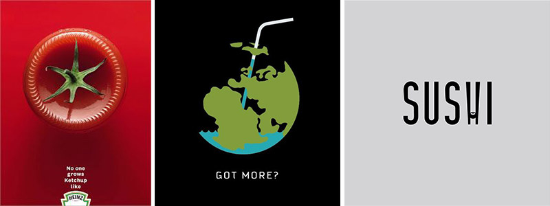 "Clever designs featuring a Heinz ad, ""Got More?"" poster of the Earth, and a Sushi poster"
