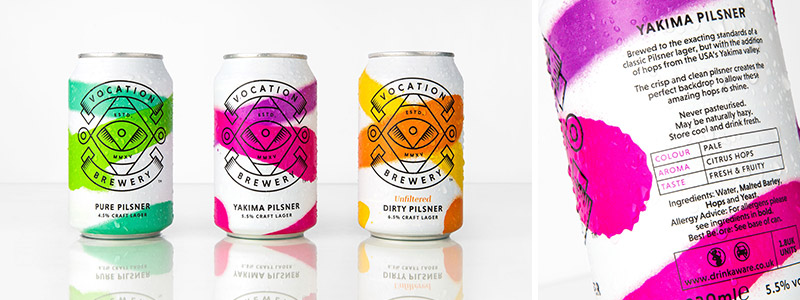 Brightly colored Pure Pilsner, Yakima Pilsner and Dirty Pilsner cans from Vocation Brewery