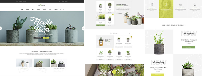 Trio of images showing the Flowie website template
